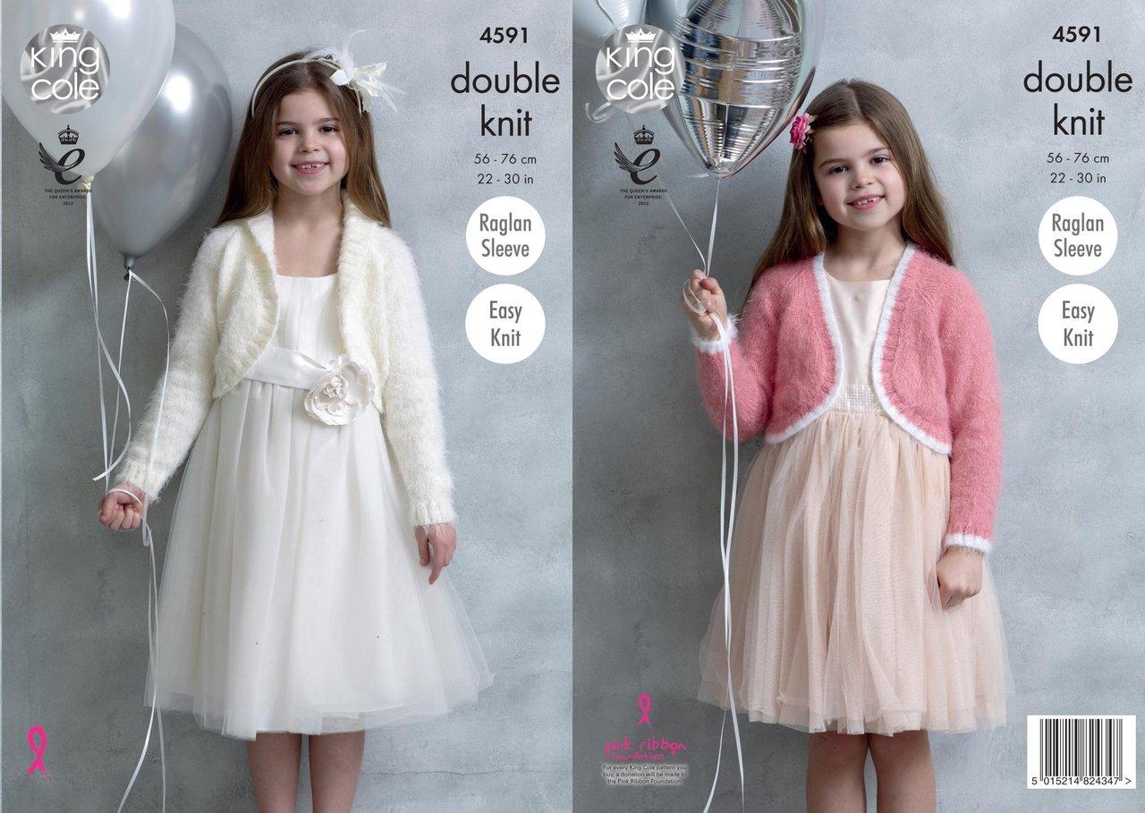 King Cole 4591 Knitting Pattern Girls Boleros In King Cole Embrace