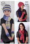 King Cole 4642 Knitting Pattern Womens Girls Hats Scarves & Wristwarmers in Party Glitz 4 Ply