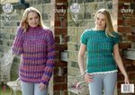King Cole 4662 Knitting Pattern Womens Sweater and Top in Corona Chunky
