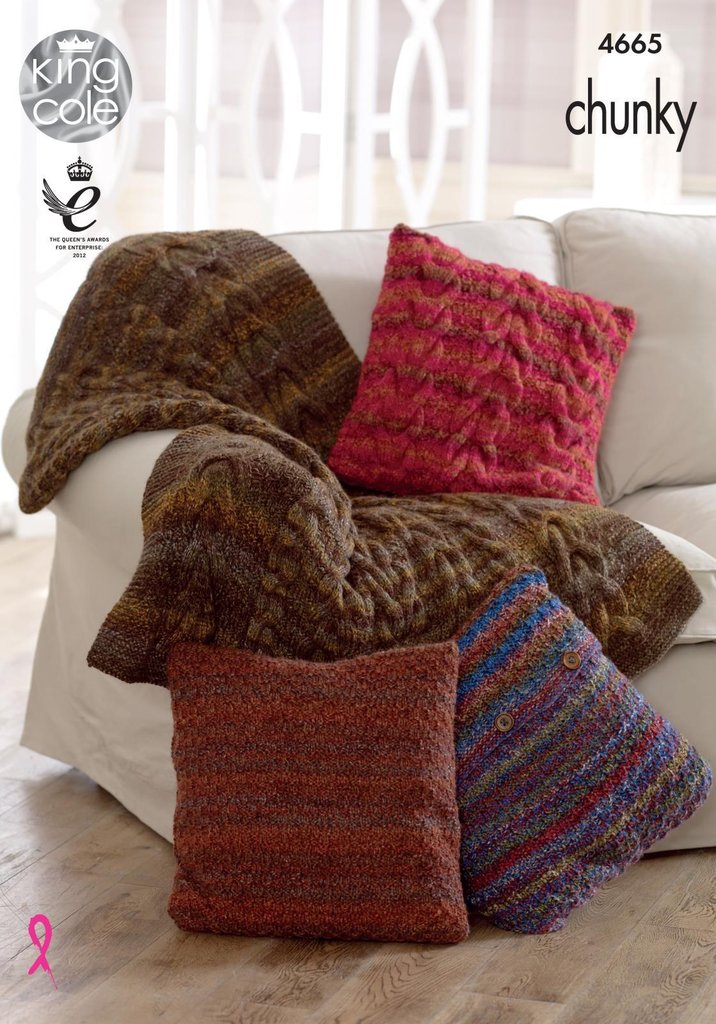 King Cole 4665 Knitting Pattern Throw and Cushion Covers in Corona Chunky - A...