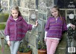 King Cole 4667 Knitting Pattern Girls Easy Knit Ponchos in Corona Chunky