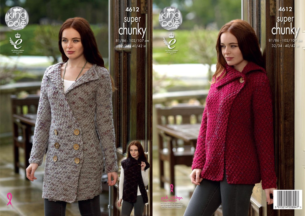 94aa02878 King Cole 4612 Knitting Pattern Cardigan Coatigen   Gilet in King Cole Big  Value Super Chunky Twist - Athenbys