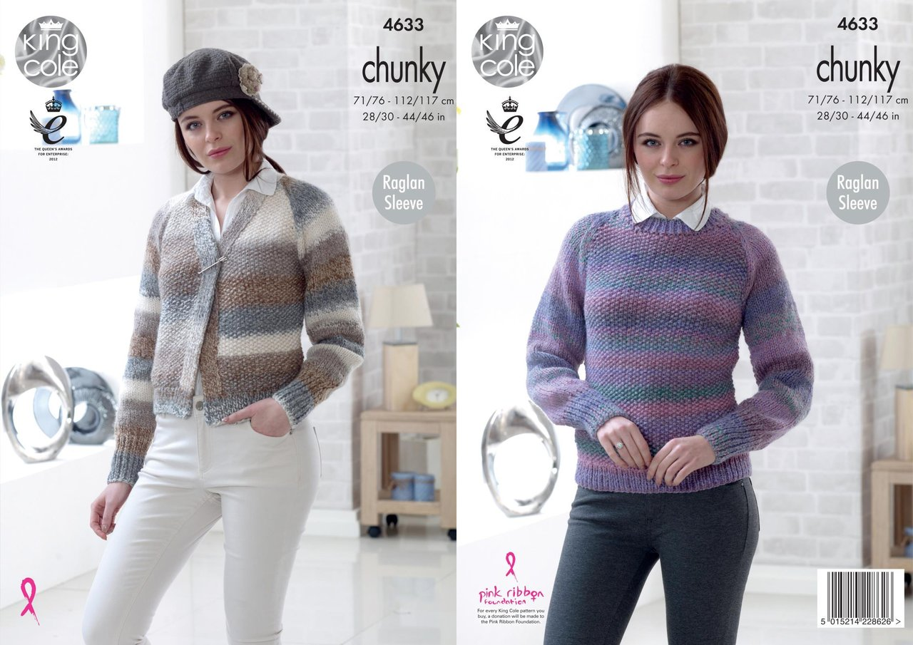 King Cole 4633 Knitting Pattern Womens Cardigan and Sweater in King ...