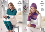 King Cole 4697 Knitting Pattern Scarf Hat Leg and Wrist Warmers in King Cole Corona Chunky