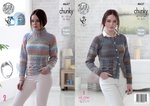 King Cole 4637 Knitting Pattern Womens Raglan Sweater and Cardigan in King Cole Cotswold Chunky