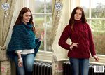King Cole 4618 Knitting Pattern Womens Sweater and Poncho King Cole Big Value Super Chunky Twist