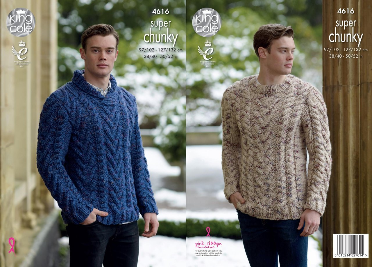 d70cc3500 King Cole 4616 Knitting Pattern Mens Sweaters in King Cole Big Value Super  Chunky Twist - Athenbys
