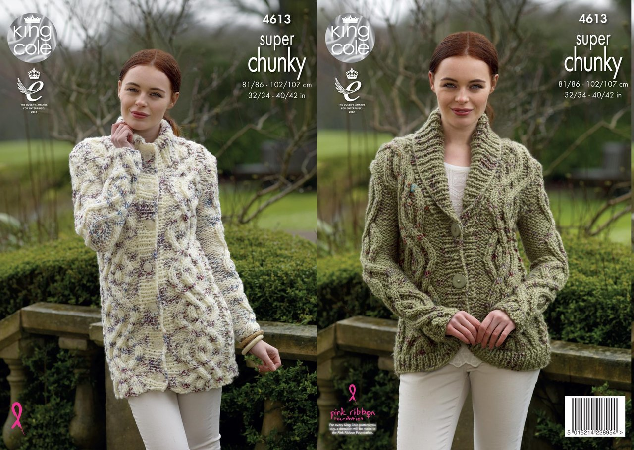 87e92b416 King Cole 4613 Knitting Pattern Cardigan   Coatigen in King Cole Big Value  Super Chunky Twist - Athenbys