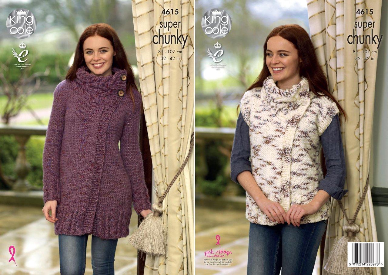 a448318997c9 King Cole 4615 Knitting Pattern Womens Cardigan   Waistcoat King Cole Big  Value Super Chunky Twist - Athenbys