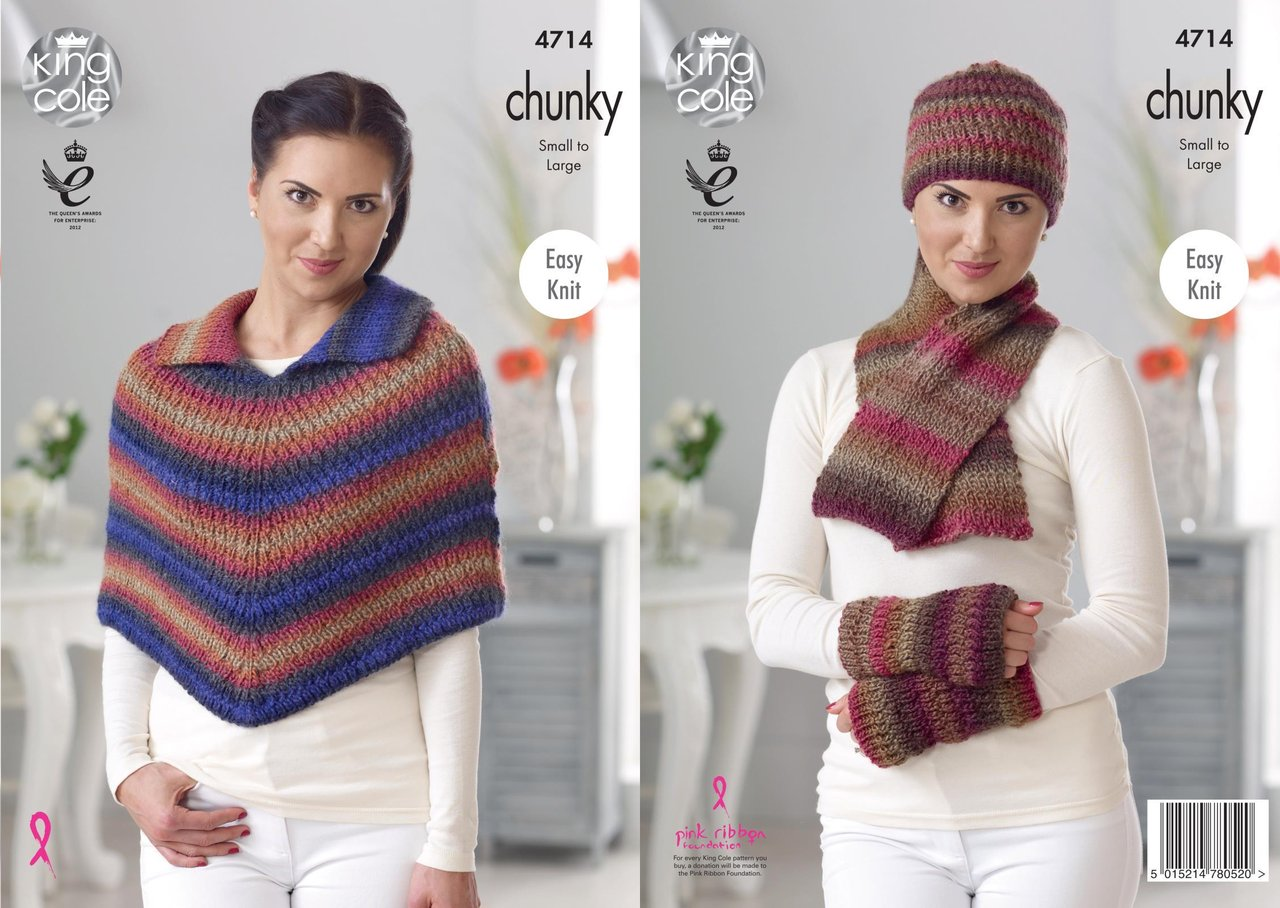 King Cole 4714 Knitting Pattern Womens Easy Knit Cape Accessories
