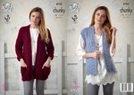 King Cole 4723 Knitting Pattern Womens Jacket and Waistcoat in King Cole Chunky