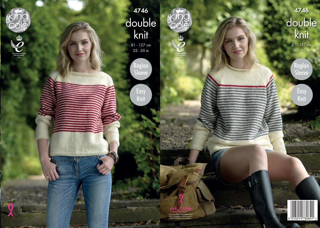 de29cffc5292 King Cole 4746 Knitting Pattern Womens Easy Knit Raglan Sweaters in ...