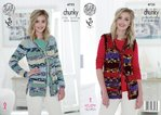 King Cole 4735 Knitting Pattern Womens Waistcoat & Cardigan in King Cole Big Value Multi Chunky