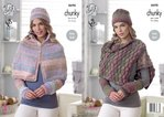 King Cole 4698 Knitting Pattern Womens Cape, Shoulder Wrap and Hat in King Cole Cotswold Chunky