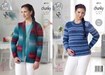 King Cole 4711 Knitting Pattern Womens Sweater and Cardigan in King Cole Riot Chunky