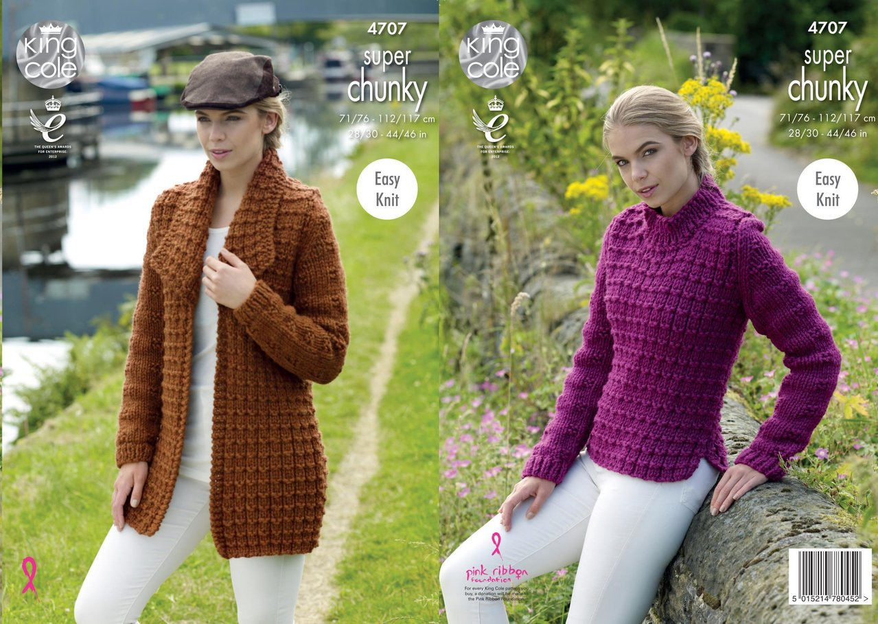 7b799bf5f King Cole 4707 Knitting Pattern Easy Knit Jacket and Sweater in King Cole  Big Value Super Chunky - Athenbys