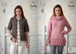 King Cole 4724 Knitting Pattern Womens Raglan Sleeve Tunic and Cardigan in King Cole Chunky