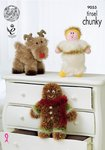 King Cole 9055 Knitting Pattern  Christmas Rudolph, Angel & Gingerbread Man in Tinsel Chunky