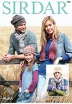 Sirdar 7883 Knitting Patttern Family Hats Scarf and Mittens in Sirdar Aura Chunky