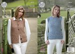 King Cole 4623 Knitting Pattern Womens Waistcoat and Slipover in King Cole Fashion Aran Combo