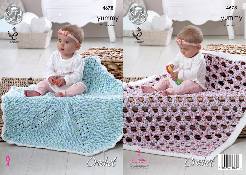 King Cole 4678 Crochet Pattern Baby Blankets In Yummy Chunky