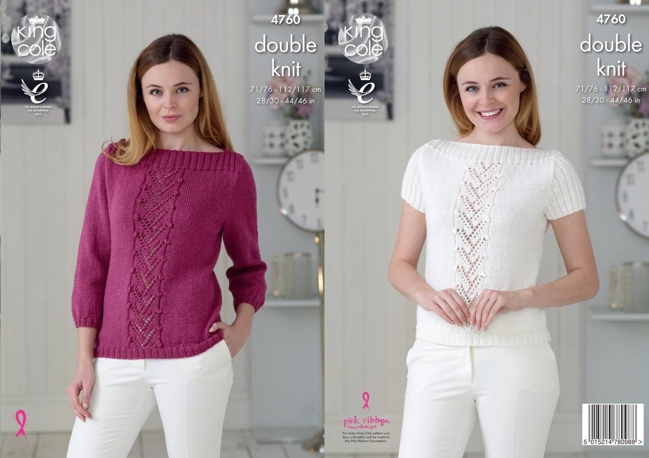 dab3a3db3d9f King Cole 4760 Knitting Pattern Womens Raglan Sweater and Top in ...