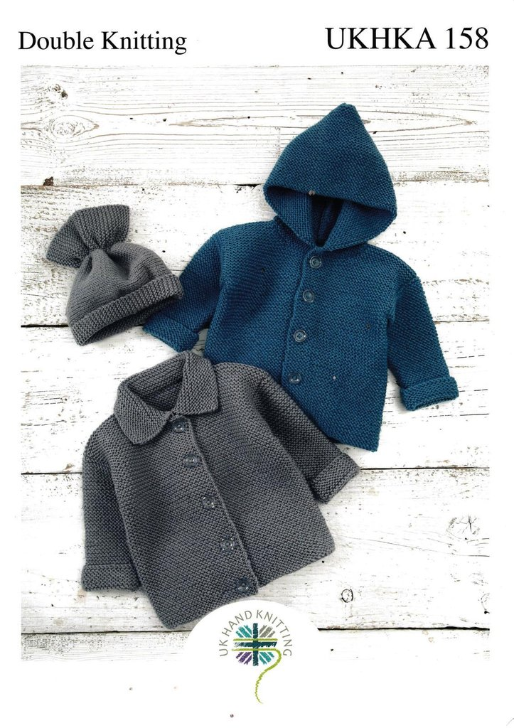 UKHKA 158 Knitting Pattern Baby Jackets and Hat in DK - Athenbys