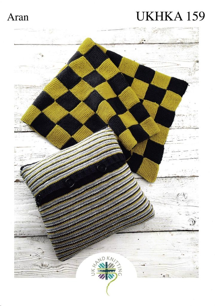 Ukhka Knitting Patterns : Ukhka knitting pattern striped cushion and checked