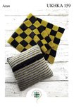 UKHKA 159 Knitting Pattern Striped Cushion and Checked Blanket in Aran