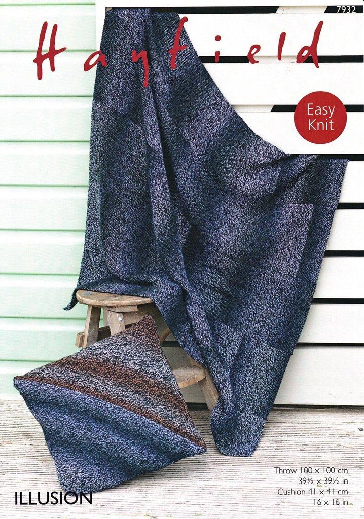 Sirdar 7932 Knitting Pattern Easy Knit Throw and Cushion ...