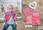 King Cole 4730 Knitting Pattern Baby Set Waistcoat Cardigan Playsuit and Hat in Comfort DK