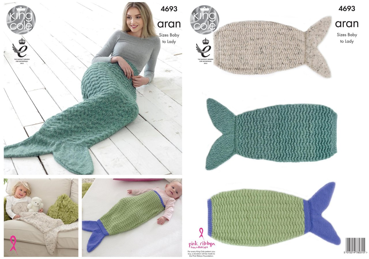 King Cole 4693 Knitting Pattern Mermaid Tail Blankets To Knit In