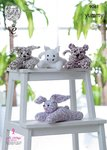 King Cole 9061 Knitting Pattern Toy Dog, Cat, Tiger Cub & Rabbit in Yummy