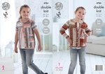 King Cole 4784 Knitting Pattern Girls Easy Knit Raglan Cardigans in King Cole DK