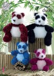 King Cole 9059 Knitting Pattern Panda Toys to knit in King Cole Tinsel Chunky