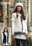Wendy 6013 Knitting Pattern Womens Waistcoat Jacket and Headband in Wendy Eider Chunky