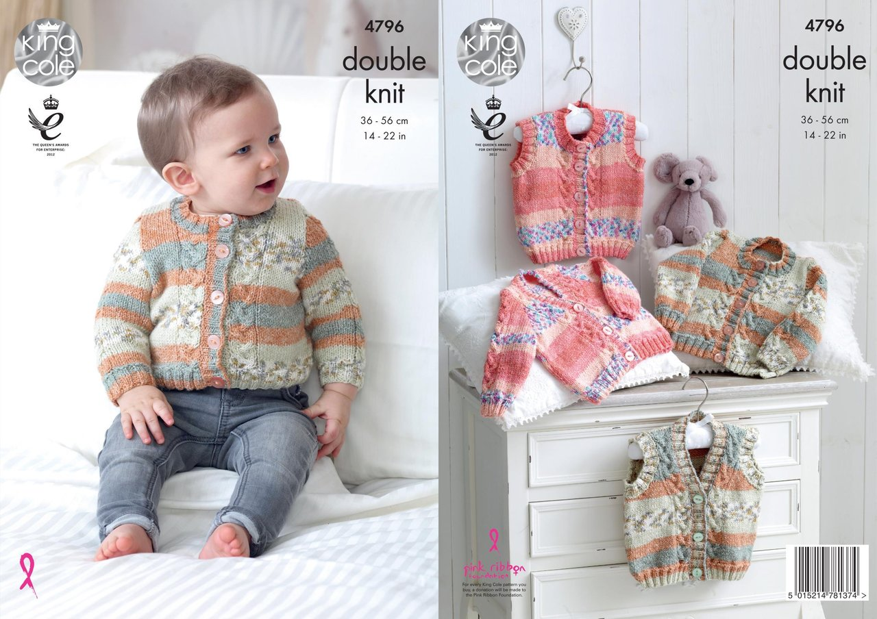 King cole 4796 knitting pattern baby cardigans waistcoats in king cole 4796 knitting pattern baby cardigans waistcoats in king cole drifter for baby dk bankloansurffo Gallery