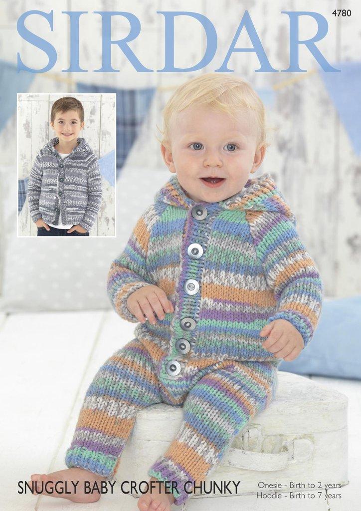 Sirdar 4780 Knitting Pattern Baby Children Onesie And Hoodie In