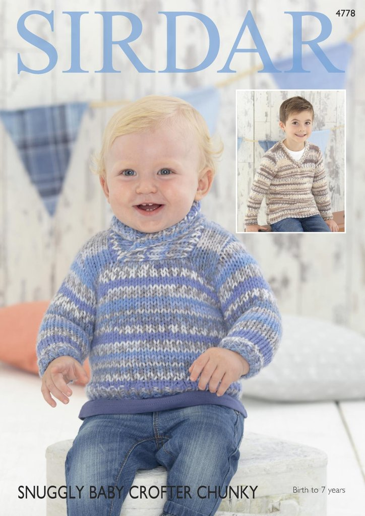Sirdar 4778 Knitting Pattern Baby Boys Wrap V Neck Sweaters In