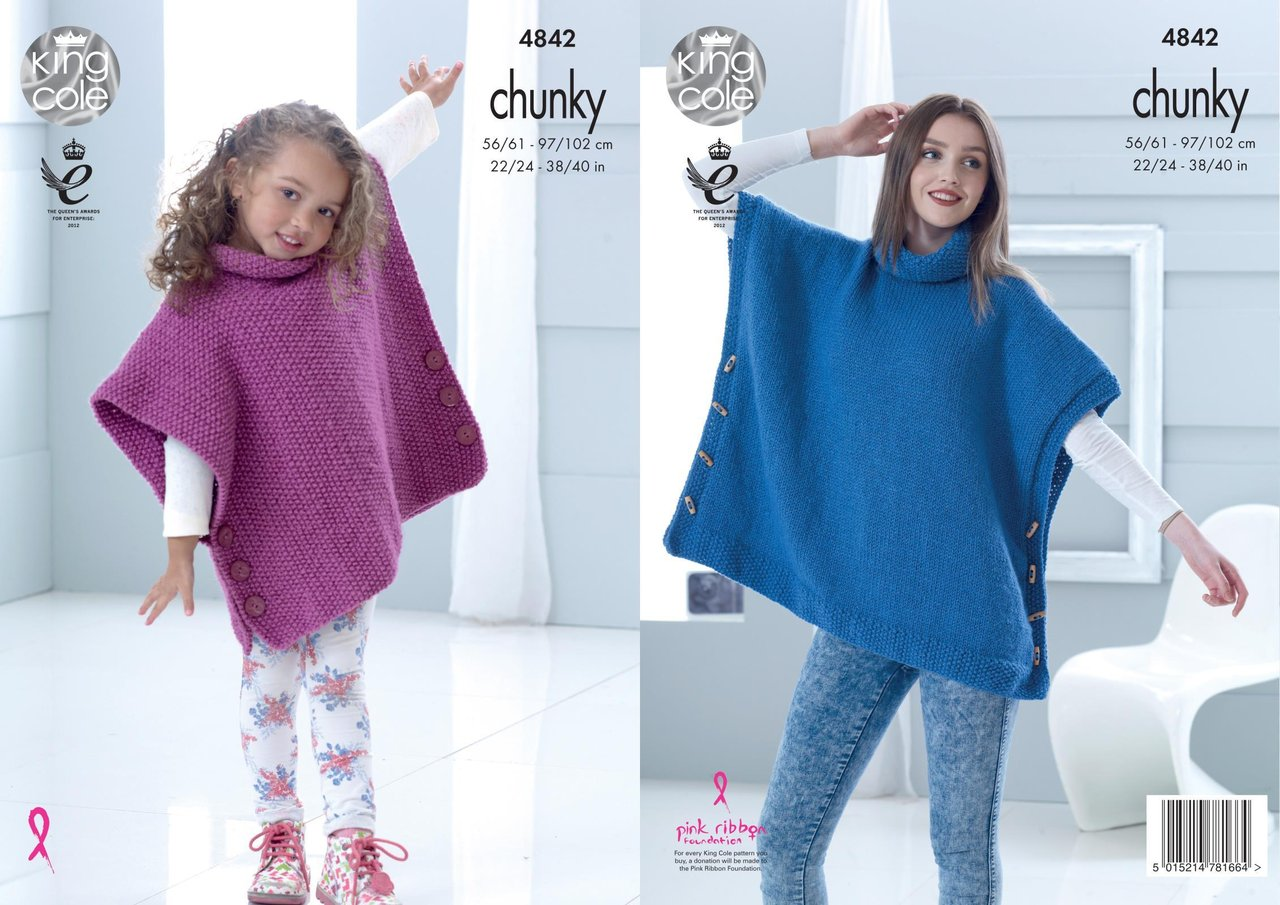 King Cole 4842 Knitting Pattern Childs Adult Poncho In Big Value