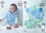 King Cole 4812 Knitting Pattern Baby Easy Knit Jacket Gilet Blanket & Hat in Cuddles Chunky