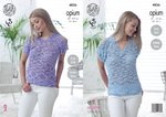 King Cole 4826 Knitting Pattern Womens Round and V Neck Easy KnitTops in King Cole Opium