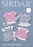 Sirdar 4713 Knitting Pattern Baby Cardigans Top & Dress in Sirdar Snuggly Baby Crofter 4 Ply
