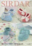 Sirdar 4734 Knitting Pattern Baby Bootees and Shoes in Sirdar Snuggly Baby Bamboo DK
