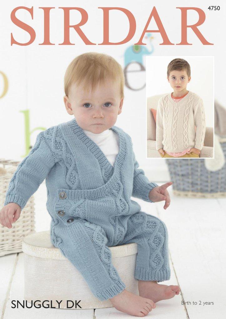 Sirdar 4750 Knitting Pattern Baby Boys Onesie V Neck Sweater In