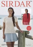 Sirdar 7890 Knitting Pattern Womens Long & Short Sleeved Sweaters in Sirdar Cotton Rich Aran