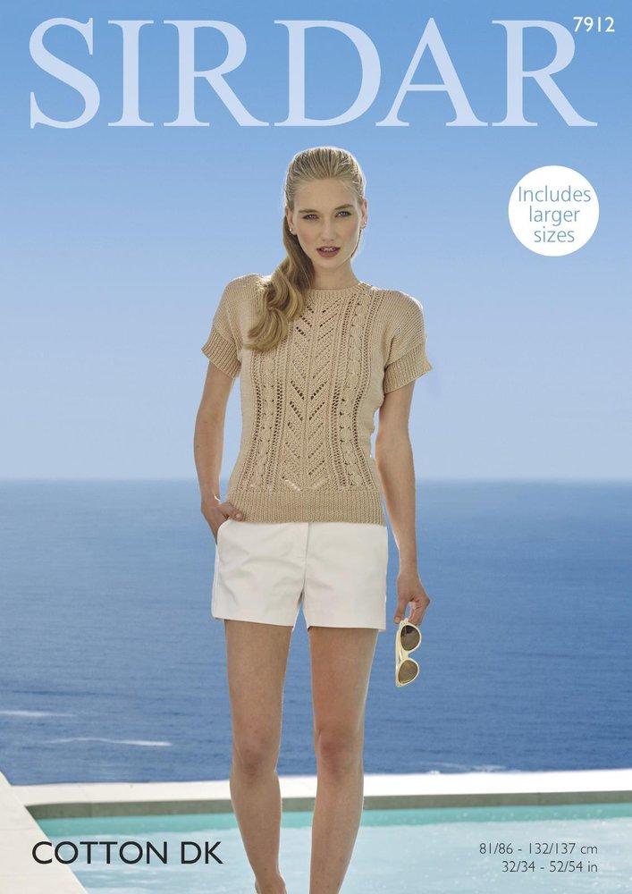 Sirdar 7912 Knitting Pattern Womens Short Sleeved Top In Sirdar