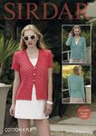 Sirdar 7911 Knitting Pattern Womens Short & Long Sleeved Cardigans in Sirdar Cotton 4 Ply