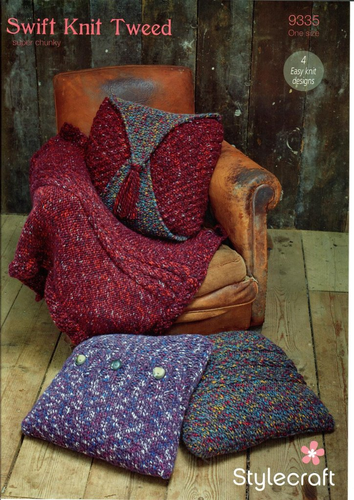 stylecraft knitting pattern easy knit cushion covers u0026 throw in swift knit tweed super chunky