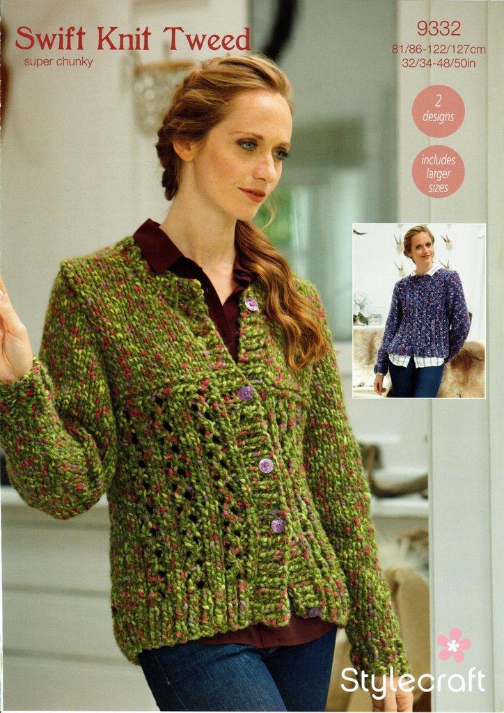 Stylecraft 9332 Knitting Pattern Womens Cardigan And Sweater In